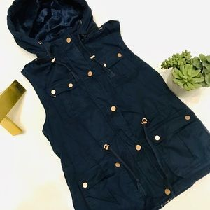 Holstark Boutique Navy Vest with Rose Gold Accents